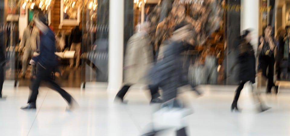 A group of shoppers in a shopping centre